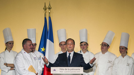 French President Hollande gives a speech at the Hotel de Marigny for the Pastry Day celebration in Paris