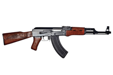 Assault rifle on white background