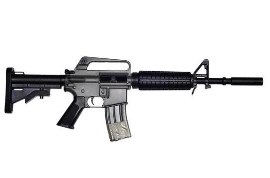 Assault rifle on white background
