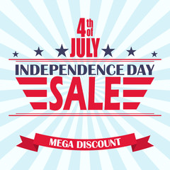 Vector USA Independence Day sale background. Design template for 4th of July sale.