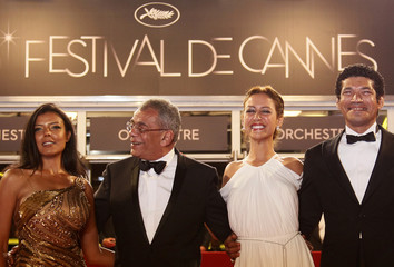 Director Nasrallah and cast members El Sebai Shalaby and Samra arrive on the red carpet for the screening of the film Baad El Mawkeaa at the 65th Cannes Film Festival