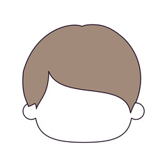 silhouette color sections and light brown hair of faceless head of little boy with short straight hair vector illustration
