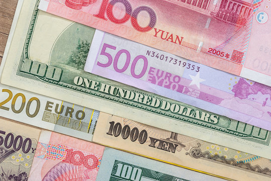banknotes of the most dominant countries in world - dollar, euro, yuan, yen
