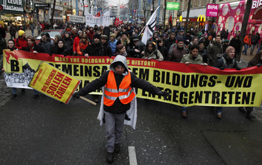 Students march during a protest rally in Vienna