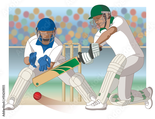 Cricket Game With Batsman And Wicket Keeper Stock Image And Royalty