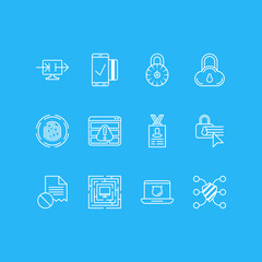 Vector Illustration Of 12 Web Safety Icons. Editable Pack Of Safe Storage, Account Data, Safe Lock And Other Elements.