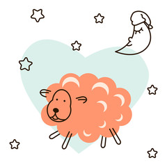 Cute baby lamb cartoon t shirt illustration vector. Pink sheep with moon and stars on heart background for kids apparel and fabric.
