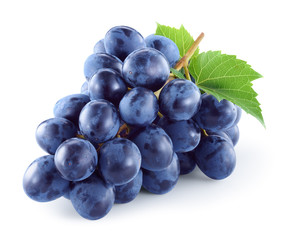 Fototapeta Dark blue grape with leaves isolated on white background. With clipping path. Full depth of field.