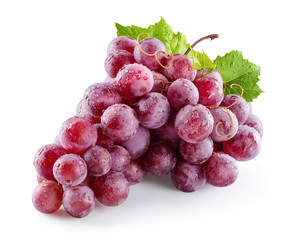 Fototapete - Ripe wet red grape. Pink bunch with drops isolated on white. With clipping path. Full depth of field.