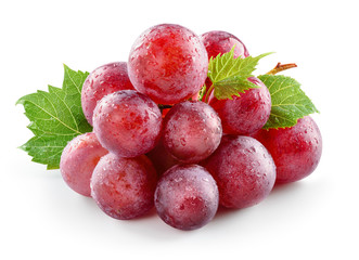 Fototapete - Ripe fresh wet red grape with leaves isolated on white. With clipping path. Full depth of field.
