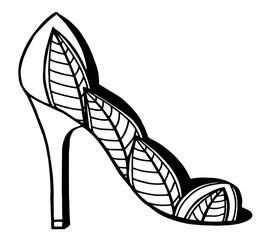 Hand drawn outline ornamental high heel shoe illustration
