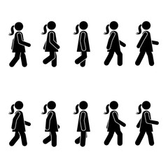 Woman people various walking position. Posture stick figure. Vector standing person icon symbol sign pictogram on white
