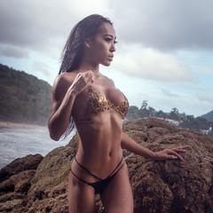 Sensual and elegant brunette beauty wearing gold jewelry bra and black bikini bottom posing on the beach near the rocks over beautiful sea, cloudy sky and tropical island background