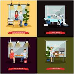 Vector set of medical doctors posters in flat style