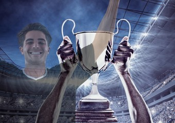 Soccer player wining the cup and two images are superimpose