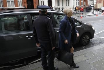 Prosecutor Ingrid Isgren from Sweden arrives at Ecuador's Embassy to interview Julian Assange in London