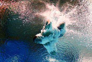 Kvasha of Ukraine is seen underwater during the men's 3m springboard semi-final at the Aquatics World Championships in Kazan