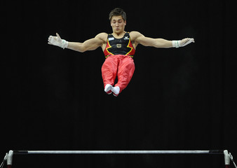 Boy of Germany performs during the men's horizontal bar finals at the Artistic Gymnastics World Championships in Rotterdam