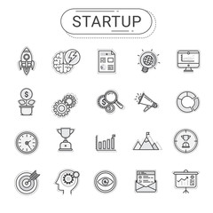 Startup icons set. Flat line icons create by vector. The set can be used for business startup, info graphics, web banner, and advertisement.