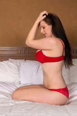 Brunette in red