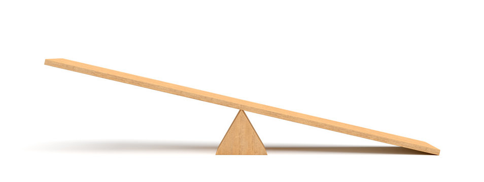 3d rendering of a light wooden seesaw with the right side leaning to the ground on white background.