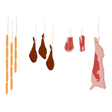 Meat assortment vector