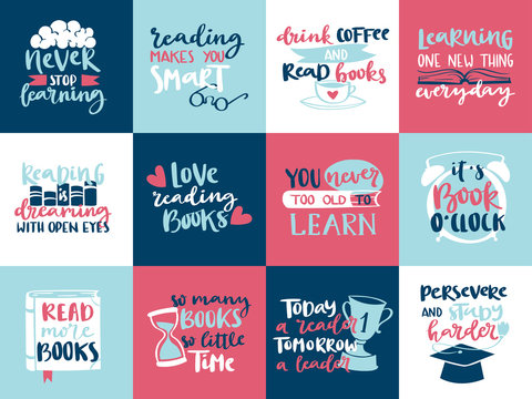Imagination concept love reading motivation hand drawn lettering quotes story book vector illustration template design.