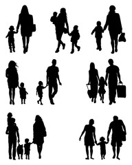 Black silhouettes of families at walking, vector