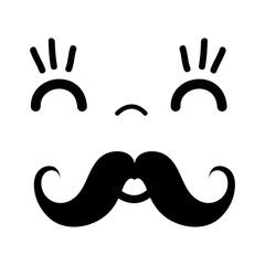 kawaii cute happy face with mustache