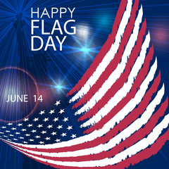 Happy Flag Day greeting card. June 14. Vector.
