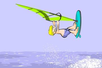 Windsurfing jumping on the sea