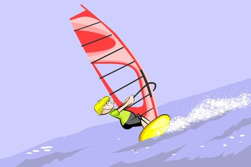 Winsurfing hapyy cartoon