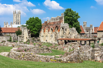Ruins of  St Augustines Abbey with Canterbury Cathedral in the background. England