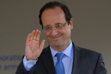 Francois Hollande, Socialist Party candidate for the 2012 French presidential election attends a ceremony in Paris