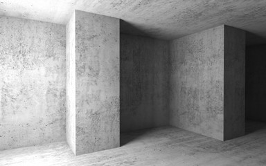 Empty concrete room. 3d illustration