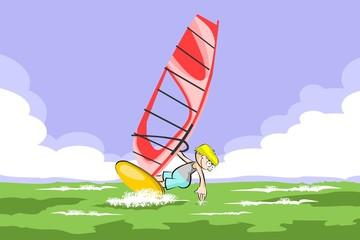 Windsurfing boy in the sea