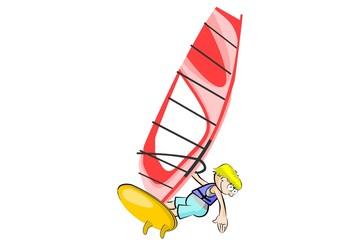 Winsurfing vector illustration isolated
