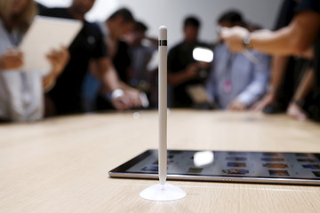 The new Apple Pencil is displayed during an Apple media event in San Francisco