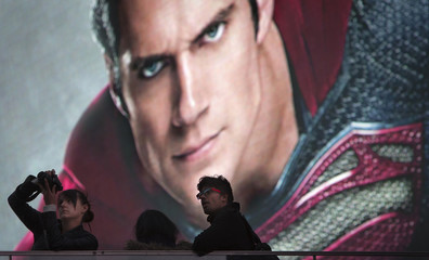 An electronic billboard displaying the image of actor Henry Cavill as Superman is pictured in Times Square in New York