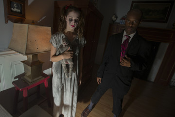 Actors depicting the legends of ghosts are seen inside Nightmare: New York, a haunted house for adults, in New York