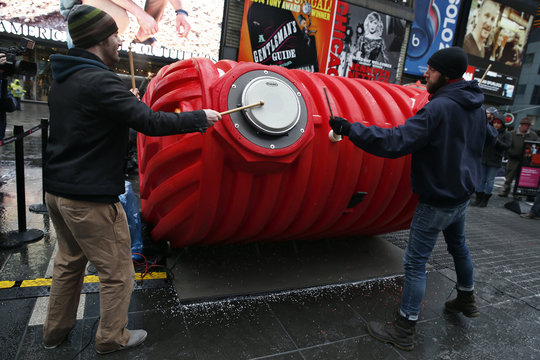 "Drummers perform on ""HeartBeat"" by Stereotank, which is the 2015 winning Times Square Valentine Heart produced by the Times Square Alliance, in New York City"