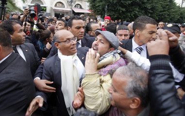 Tunisia's President Moncef Marzouki , who is seeking re-election, shakes hands with supporters as he campaigns  in Tunis