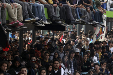 Chilean students attend a demonstration against the government demanding changes in the public state education system