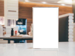 Blank Menu frame on Table in cafe restaurant