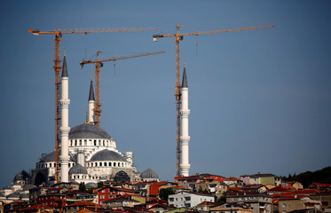 A new mosque is under construction at Camlica hill overlooking the Bosphorus in Istanbul