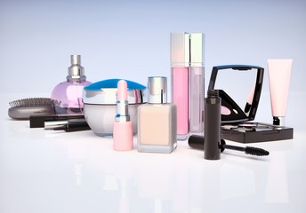 Makeup set on light background. Mascara, lipstick, pencil, eye shadow, perfume bottle, comb,concealer, cream  located on a light gray-blue background.