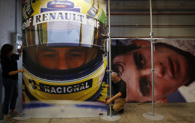 Architects set pictures of Brazilian Formula One driver Ayrton Senna  for an exhibition at the Imola race track