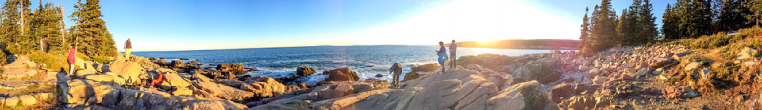 ACADIA NP, MAINE - OCTOBER 2015: Tourists visit national park. Acadia is a major destination in foliage season