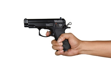 a hand with handgun wrong gripping style