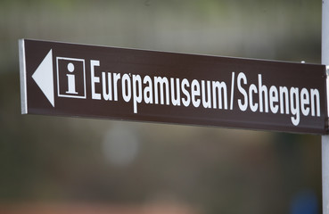 A sign points at the European museum of Schengen, Luxembourg